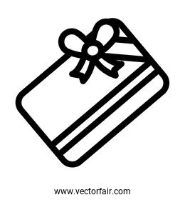 gift card with bow icon, line style