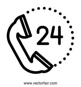 24 hours call service symbol, phone icon, line style
