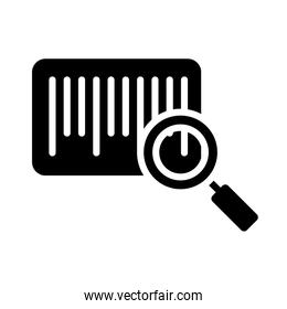 barscode and magnifying glass icon, silhouette style