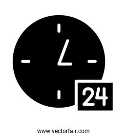 24 hours symbol, clock icon, silhouette style