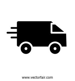 fast delivery van icon, silhouette style