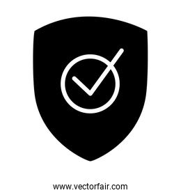 security shield with check mark icon, silhouette style