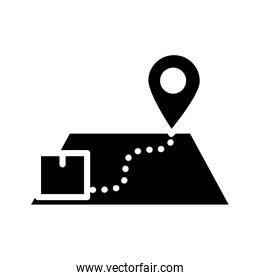 box in a map and location pin, silhouette style