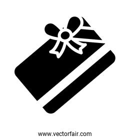 gift card with bow icon, silhouette style