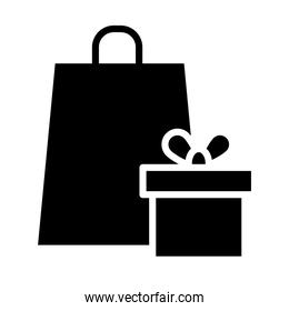 shopping bag and gift box icon, silhouette style