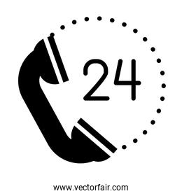 24 hours call service symbol, phone icon, silhouette style