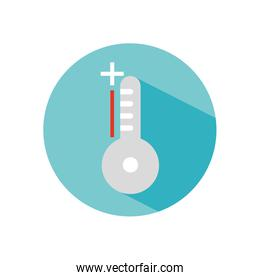 thermometer with high temperature icon, block style