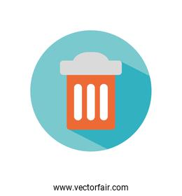 trash can icon, block style