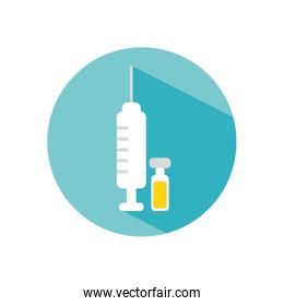 syringe and medication bottle icon, block style