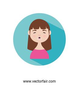 coronavirus symptoms concept, cartoon woman coughing icon, block style