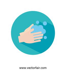 handwashing concept, hands with soapy water icon, block style
