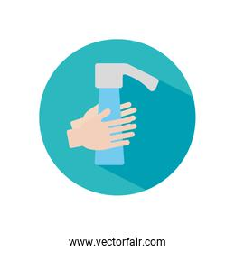 handwashing concept, water faucet and hands icon, block style