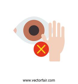 Coronavirus dont touch eyes concept, hand and eye with cross symbol icon over white background, flat style