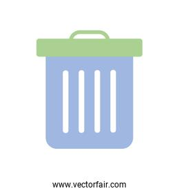 trash can icon, flat style