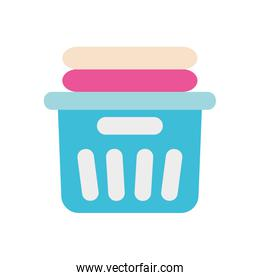 bucket with clean folded clothes icon, flat style