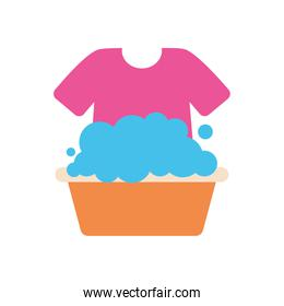 bucket with soapy water and tshirt, flat style
