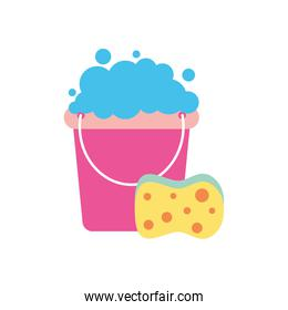 bucket with soapy water and sponge, flat style