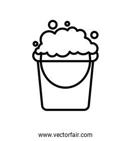 cleaning bucket with soapy water icon, line style