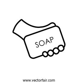 hand holding a soap bar icon, line style