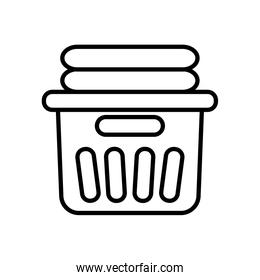 bucket with clean folded clothes icon, line style