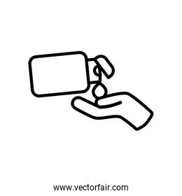 antibacterial bottle and hand icon, line style