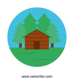 trees and cabin landscape icon, flat style