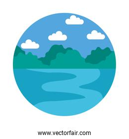 Ocean and sky landscape icon, flat style