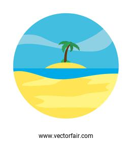 Beach and tropical palm landscape, flat style