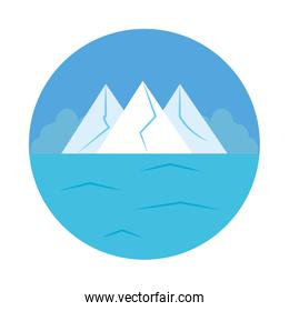 Ice mountains and ocean landscape, flat style
