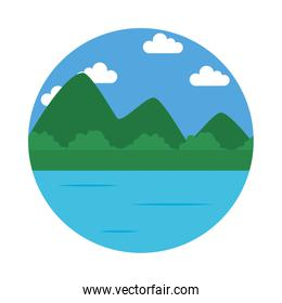 lake and mountains landscape icon, flat style