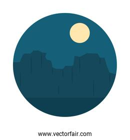 Desert landscape with high rocky canyon at the night, flat style