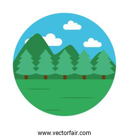 Mountains and forest landscape icon, flat style