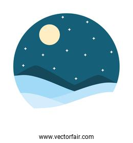 starry night landscape and mountains, flat style