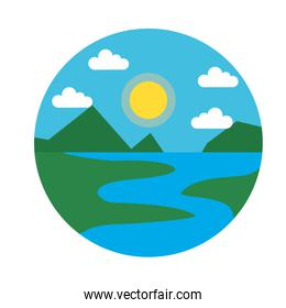 Landscape with river and mountains icon, flat style