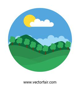 Mountains and trees landscape icon, flat style