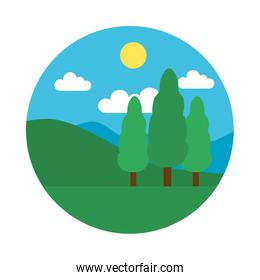Trees, mountains and sun landscape, flat style
