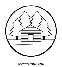 trees and cabin landscape icon, line style