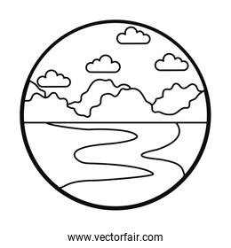 Ocean and sky landscape icon, line style