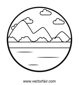 lake and mountains landscape icon, line style