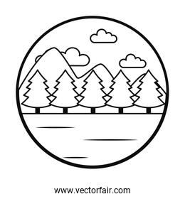 Mountains and forest landscape icon, line style