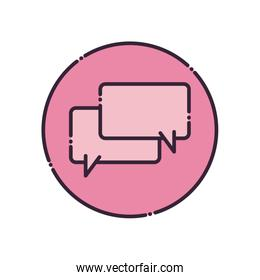 Rectangles communication bubbles fill style icon vector design