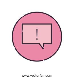Communication bubble with exclamation mark fill style icon vector design