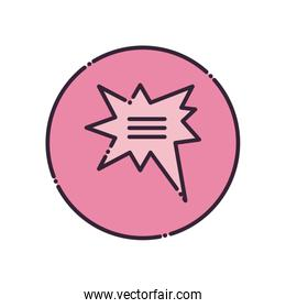 Explosion ommunication bubble fill style icon vector design