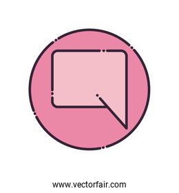 Rectangle communication bubble fill style icon vector design