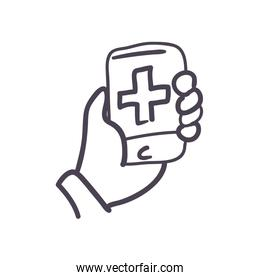 Hand holding smartphone with cross line style icon vector design