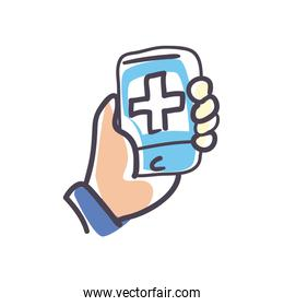 Hand holding smartphone with cross fill style icon vector design