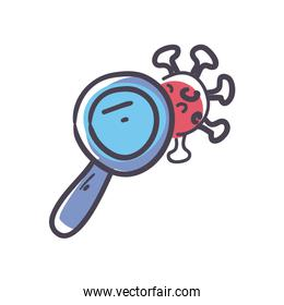 Lupe with covid 19 virus fill style icon vector design