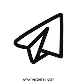 Isolated origami paperplane fill style icon vector design