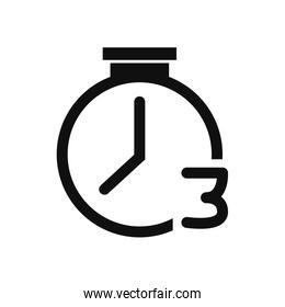 Isolated chronometer with number three fill style icon vector design