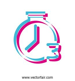 Isolated chronometer with number three lighten style icon vector design